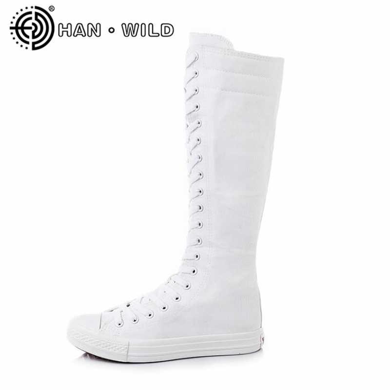 High Top Casual Leinwand Schuhe für Frauen Flache Turnschuhe Damen Seite Zipper Lange Stiefel Atmungsaktive Flache Einzel Schuhe Student Schuhe