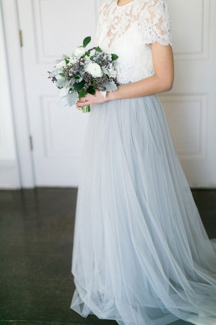 3210c20fd42 Powder Blue Tulle Skirt Lace Top Two Pieces Wedding Dresses 2019 With Color  A-line Modern Boho Bridal Gowns Cheap New Elegant