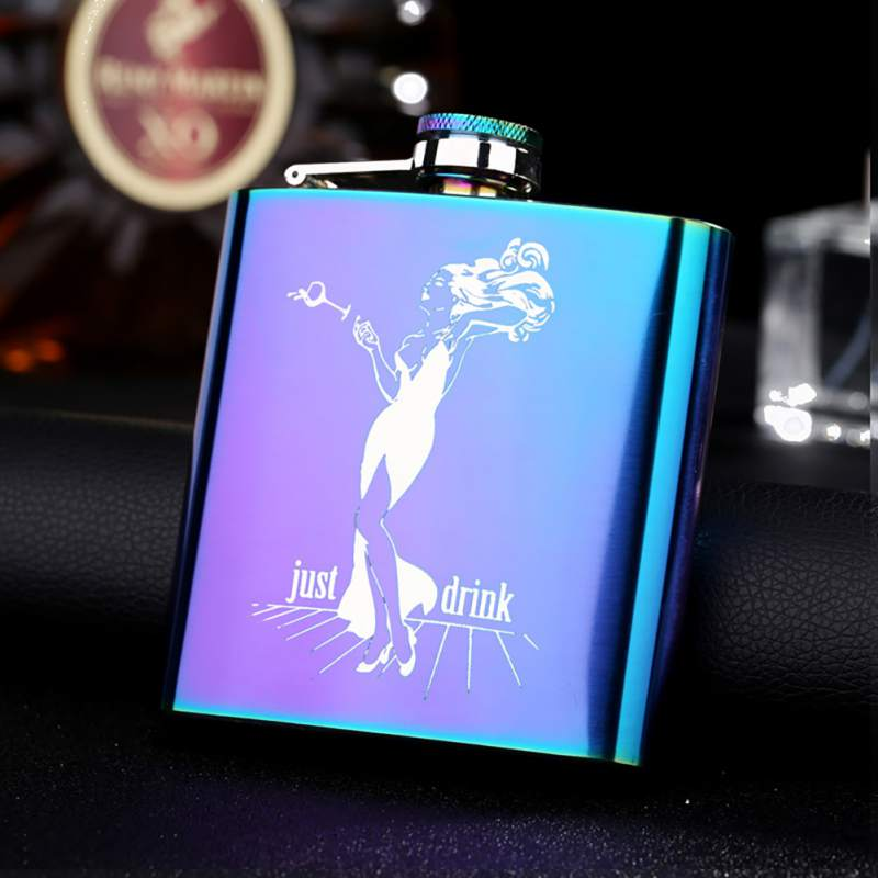 1PC Portable Hip flask 6 oz Flat Pot Bottle Vodka Bottle Magic Color Stainless Steel Hip Flask Bottle English Painting Girl Gift in Hip Flasks from Home Garden