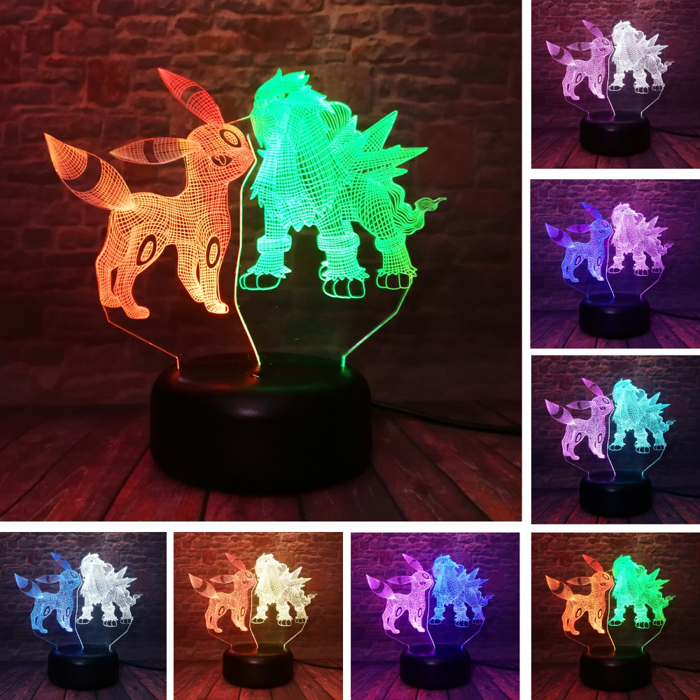Cartoon Anime Pokemon Go Action Umbreon & Entei Figures 3D Mixed LED Lamp RGB 7 Color Change Night Light Bedroom Decor Toys Gift