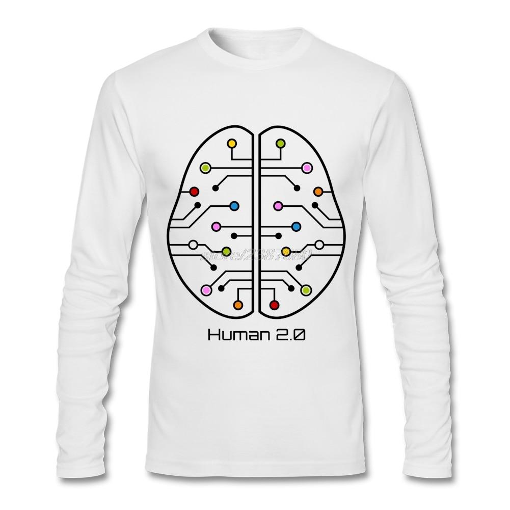 Human design t shirt - Cheap Wholesale Human 2 0 Brain Circuit T Shirts Man Crew Neck Tee Shirt Design Simple