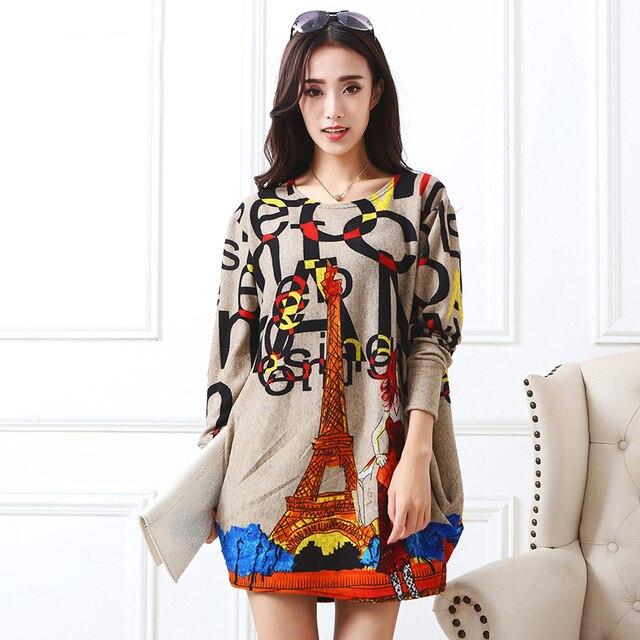 c9736ef4c33d0 أزياء برج ايفل طباعة بنات البسيطة فساتين كم كامل o فوج سيدة مثير vestido  النساء الخريف
