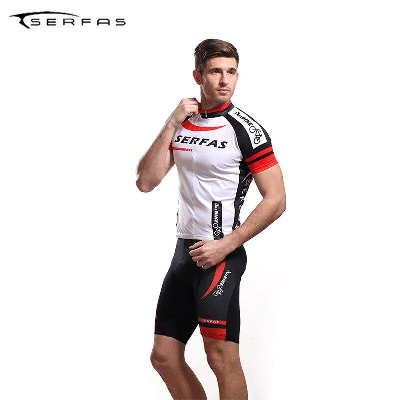 Serfas Лето Велоспорт Для мужчин короткий Трикотажный костюм комплект MTB горный велосипед Джерси Костюмы спорта на открытом воздухе мото Кост...