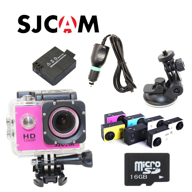 Original SJCAM SJ4000 1080P 60FPS Sport Action Waterproof Camera+Free Battery+16GB Class10 Micro TF card+Car Charger+Holder