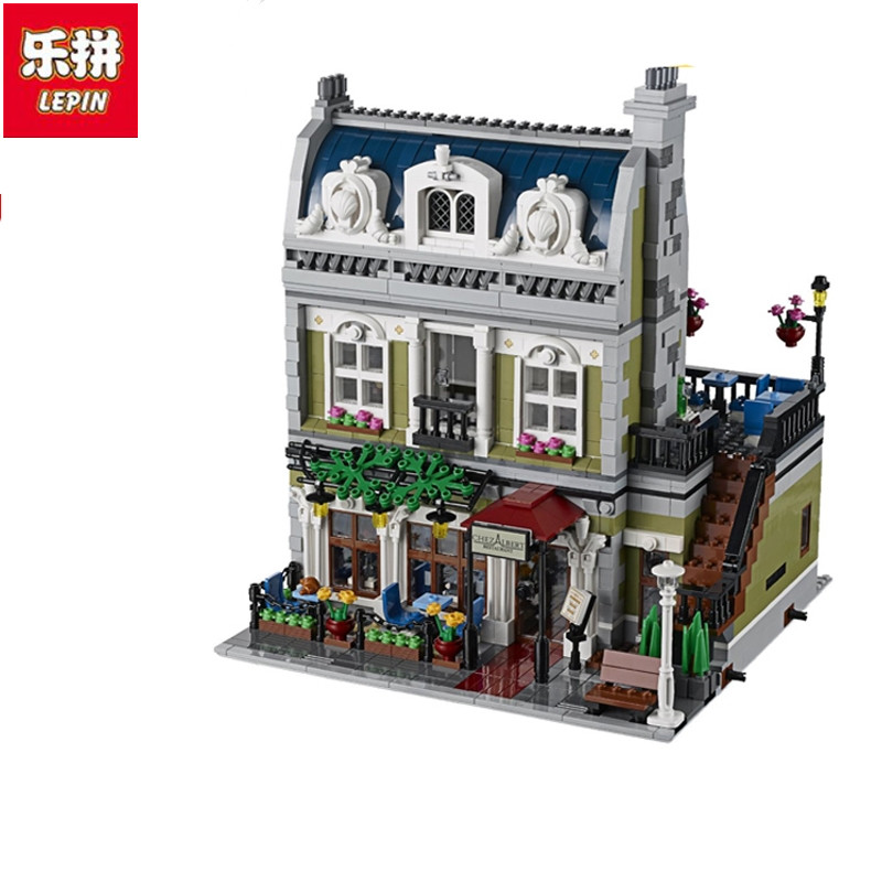Lepin 2418PCS DHL 15010 Creator Expert City Street Parisian Restaurant Model Building Kits Block Toy Compatible 10243 lepin 16008 creator cinderella princess castle city 4080pcs model building block kid toy gift compatible 71040