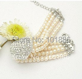 free shipping !wholesale,new sample,dog collar necklace imitate pearl rhinestone heart