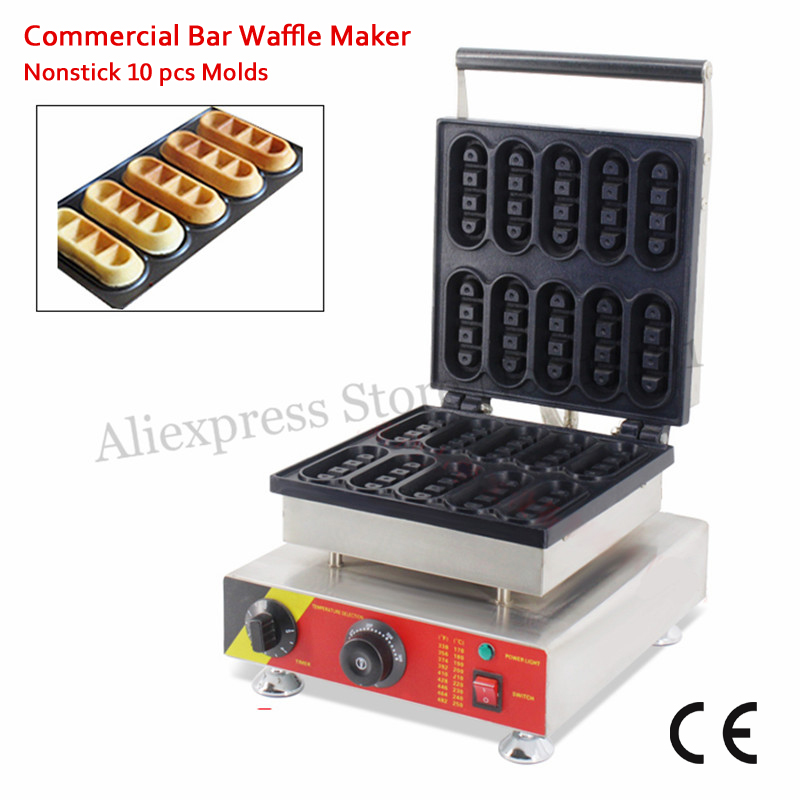 Commercial Mini Bar Waffle Maker Nonstick Small Cake Machine 10 Molds 1500W 110V 220V CE Approval Free Shipping from 1 12mm molds floating fish feed pellet extruder meal making machine free sea shipping 110v 220v