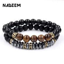 Fashion 2Pcs/Sets Distance Bracelets Sets For Women Men CZ Round Charm Tiger Eye,Hematite Beads Bracelet & Bangles Jewelry gift