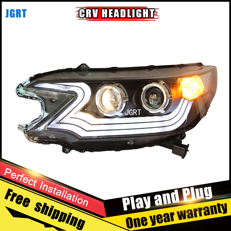 2PCS Car Style LED headlights for Honda CRV 2012-2014 for CRV head lamp LED DRL Lens Double Beam H7 HID Xenon bi xenon lens hireno headlamp for 2010 2012 kia sorento headlight assembly led drl angel lens double beam hid xenon 2pcs