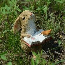 Coleção diária decorações de páscoa para casa cute coelho estatuetas mesa em miniatura ornamentos fada jardim ação de graças