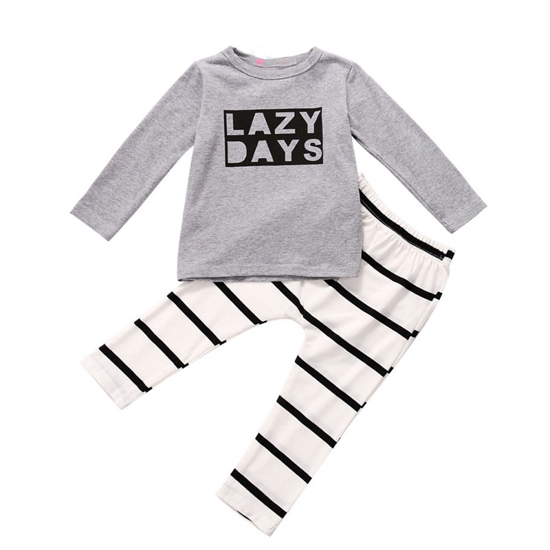 Babies Boy T-shirt+stripe Pants outfit pajamas , sleepwear clothing Baby boys Long Sleeve Letter Lazy days Outfits 2 Pcs letter graphic stripe long sleeve t shirt