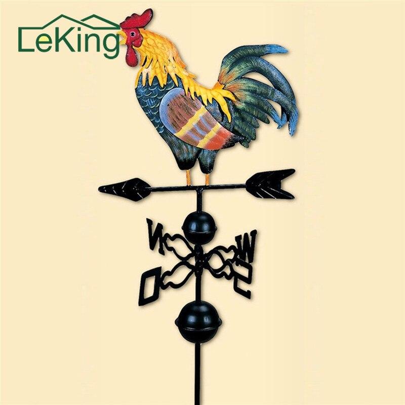 Européen traditionnel peint coq girouette fleur Insert Style campagnard classique pour la décoration de jardin familial
