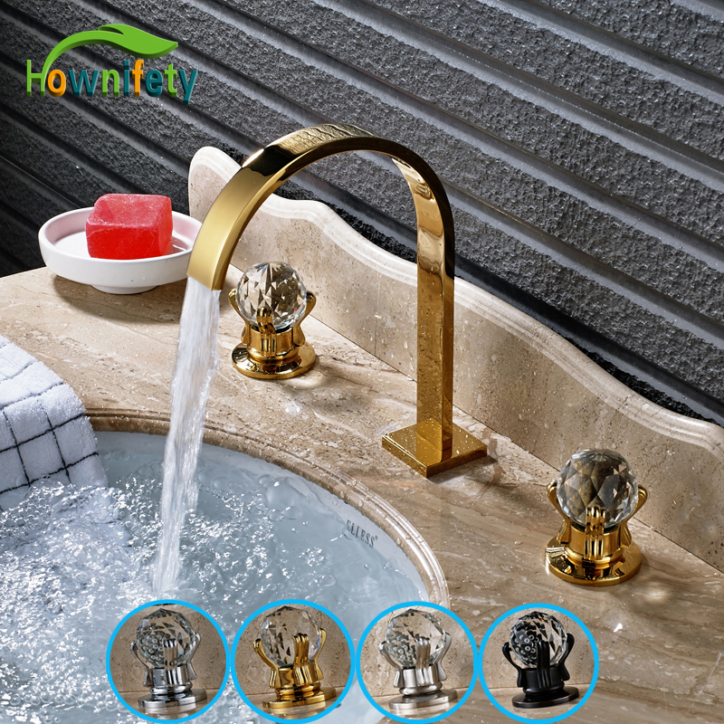 Widespread 3pcs Solid Brass Bathroom Sink Faucet Double Handle Mixer Tap Oil Rubbed Bronze/ Nickel Brushed/ Chrome/ Gold chrome finished bathroom sink tub faucet single handle waterfall spout mixer tap solid brass