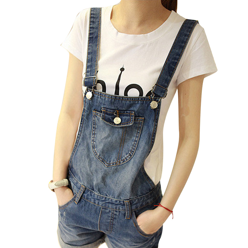 New Women Girls Casual Vintage Wash Denim Overall Suspender Jean Trousers Pants Boyfriend style denim Shorts blue women casual vintage wash straight leg loose fat girls trousers pants denim overall suspender jeans