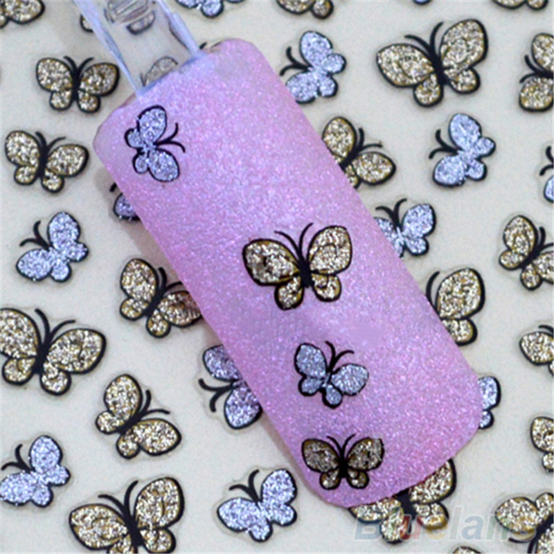 3D Glitter Butterfly Nail Art Stickers Decals Nail Tips Decoration Manicure Kit blingbling nail glitter ab crystal glass nail art caviar beads 3d pixie mermaid nail tips manicure decoration