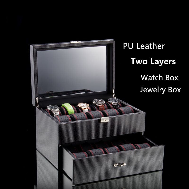 2017 Top Two Layers Watch Storage Boxes Black PU Leather Material Watch Display Box Fashion Jewelry Gift Case A067 top leather watches box black 20 grids watch storage boxes fashion brand watch display box jewelry watch gift cases