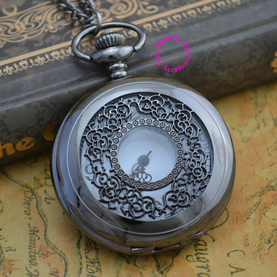 Coupon For Wholesale  Price Good Quality New Black Vintage Retro Nickel Gunmetal Plated Flower Quartz Chain Pocket Watch Hour