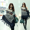 Vintage Geometric knitted BOHO Tassel women sweater asymmetrical pullover Poncho Autumn Winter women sweaters and pullovers 2015