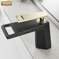 XOXO Basin Faucet Black Waterfall Bathroom Faucet Cold And Hot Single handle Bathroom Faucet Mixer Water Tap 80015A H