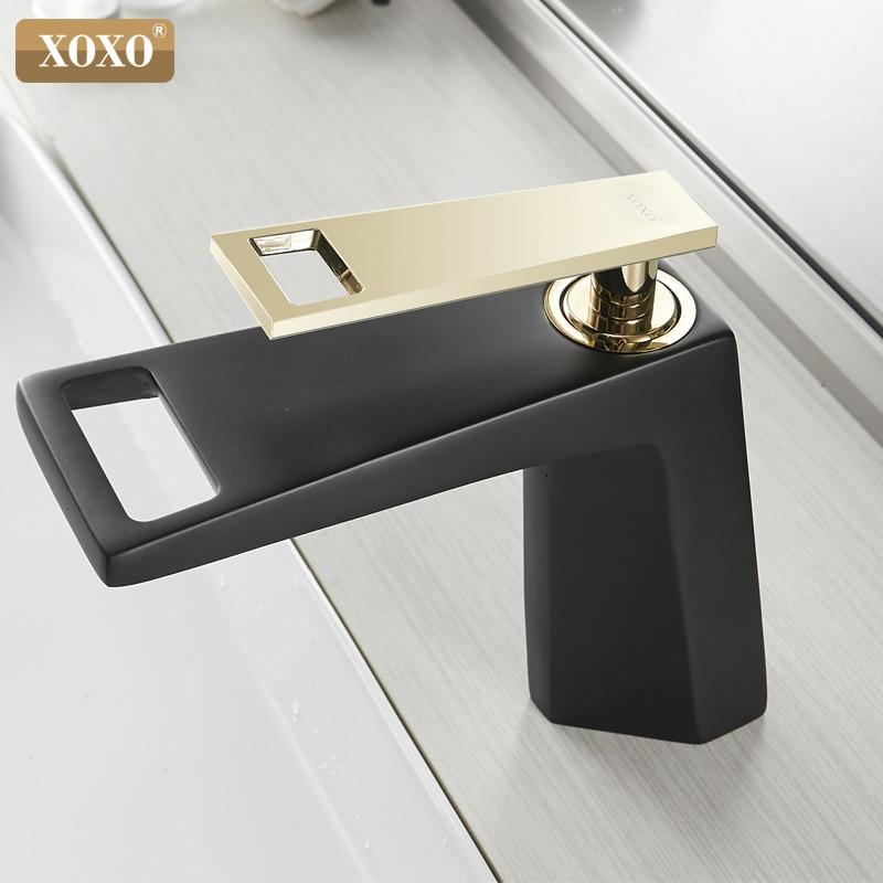 XOXO robinet de lavabo noir cascade salle de bain robinet froid et chaud mitigeur de salle de bain robinet mitigeur robinet d'eau 80015A-H