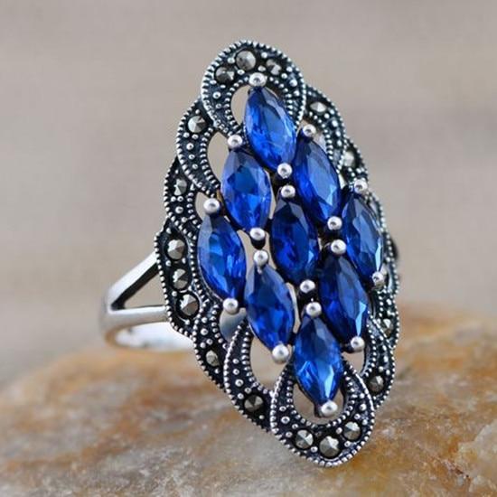 Bijoux en argent en gros 925 bijoux en argent sterling incrusté argent bleu corindon Marcassite anneau par MS.