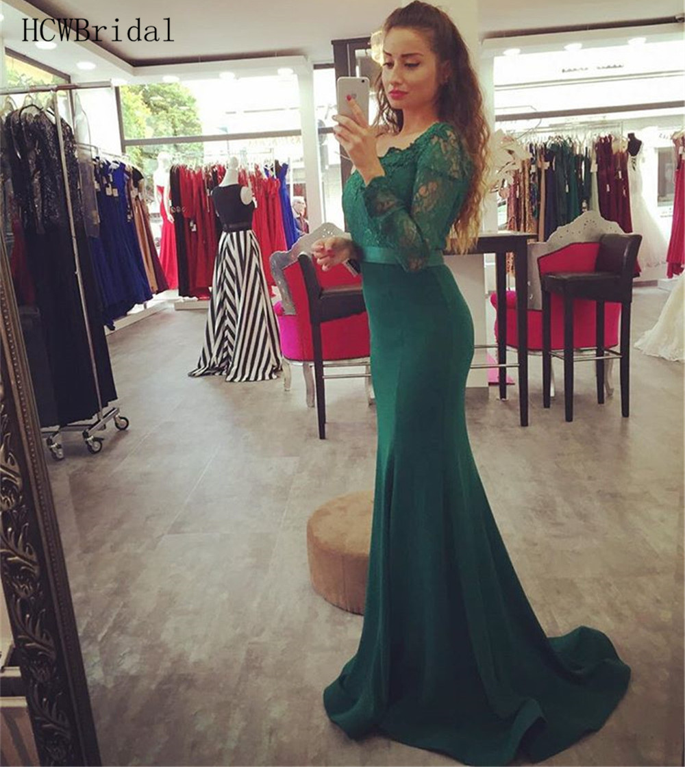 Long Sleeve Mermaid Green Evening Dress Floor Length Elastic Satin Lace Top Simple Prom Gowns 2019 Cheap Women Occasion Dresses
