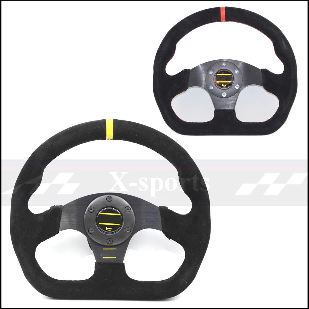 OMPカースポーツステアリングホイールレースタイプ高品質ユニバーサル13インチ320ミリメートルアルミ+スエードブラックРулевоеколесо
