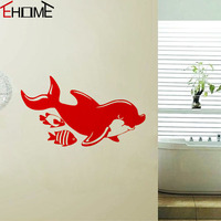 Dolphin Wall Stickers For Bathroom Ornaments Wall Art Vinyl Decals Animals Waterproof Wallpaper