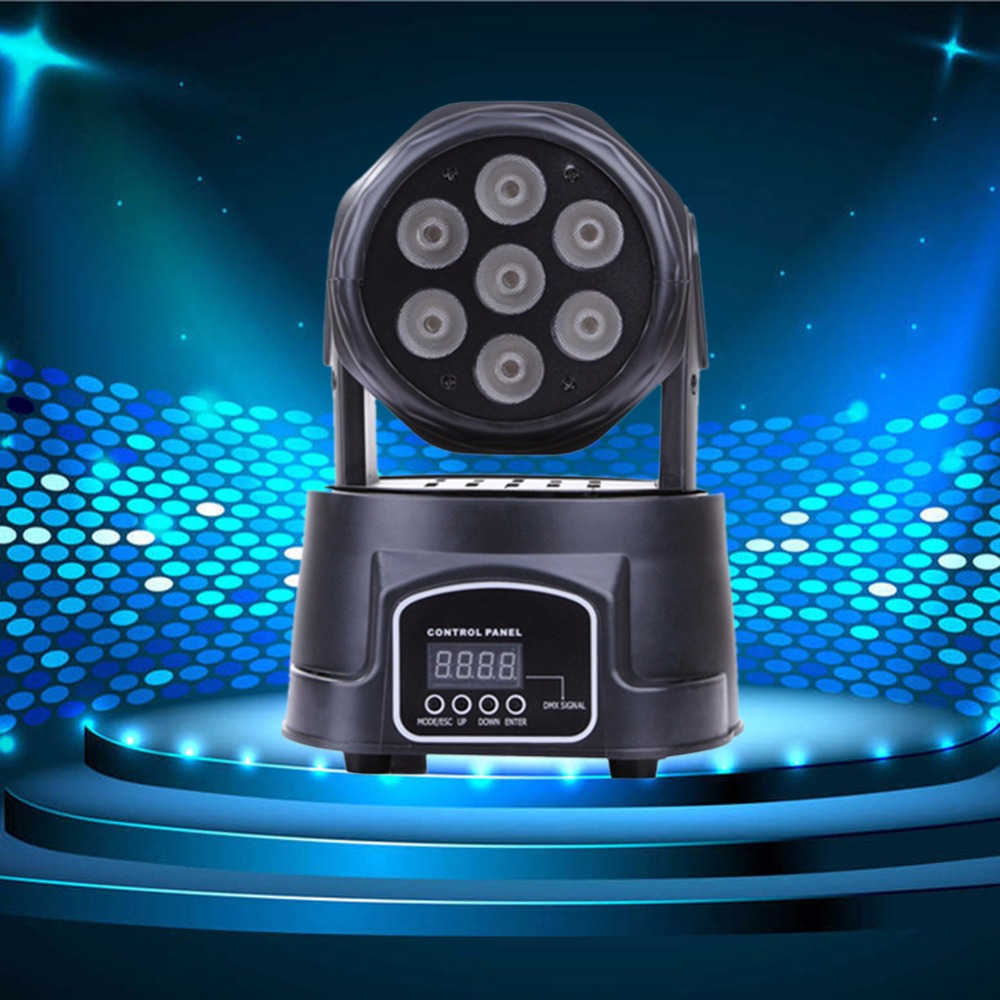 все цены на  LED Moving Head Mini wash 7x12w RGBW Quad with advanced 14 channels LED effect stage light Factory Price  онлайн