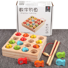 Free shipping Solid wooden digital magnetic fishing toy Magnetic wood fish blocks 15 PCS children parent-child game Classic toys