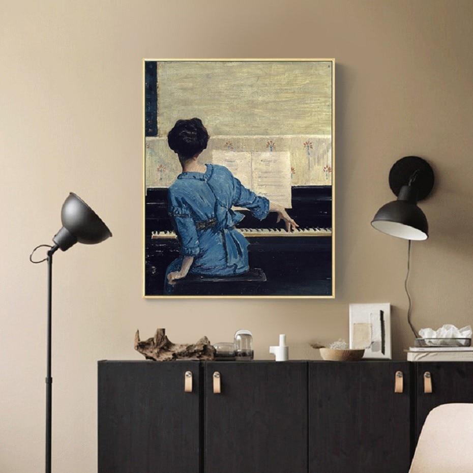 Vintage Piyano Kız Poster Şekil Tuval Boyama POP Duvar Sanatı Resimleri Oturma Odası için Tuval üzerine Galeri Ev Dekor
