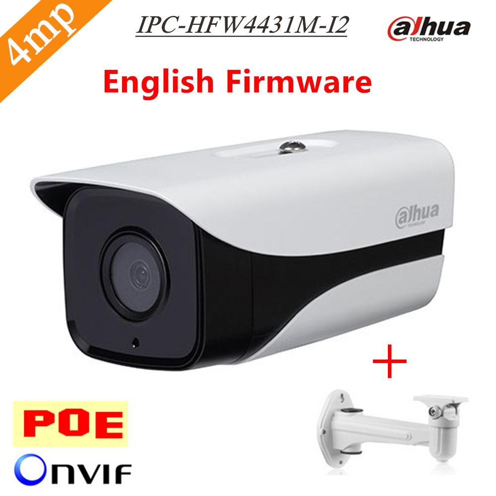 Dahua English Firmware H.265 4MP IPC-HFW4431M-I2 network ip camera support POE IP67 IR 80M web camera HFW4431M-I2 with Bracket original english firmware dahua full hd 4mp poe ip camera dh ipc hfw4421s bullet outdoor camera