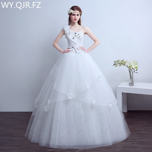 N19 2017 Spring Summer New Lace Up Bride Toast Wedding Party Dress Plus Size Long