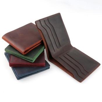 цена на moterm 100% Genuine Leather Wallets Bifold Purse Vintage Crazy Horse Leather Clutch Men wallets Retro Coin Pocket men wallets
