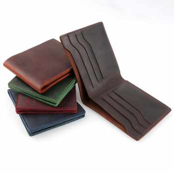 moterm 100% Genuine Leather Wallets Bifold Purse Vintage Crazy Horse Leather Clutch Men wallets Retro Coin Pocket men wallets - DISCOUNT ITEM  59% OFF All Category