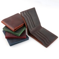 moterm 100% Genuine Leather Wallets Bifold Purse Vintage Crazy Horse Leather Clutch Men wallets Retro Coin Pocket men wallets