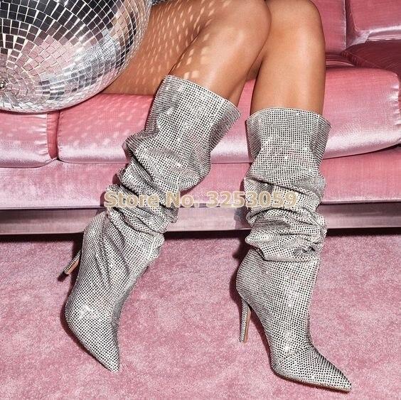 Альмудена женская обувь с острым носком сияющий кристалл сапоги до колена сверкающие свадебные туфли со стразами свободные в сложенном вид