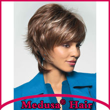 Medusa hair products: Unique and trendy shag styles Synthetic wigs Short wavy Mix color wig with bangs Peruca curta SW0097A