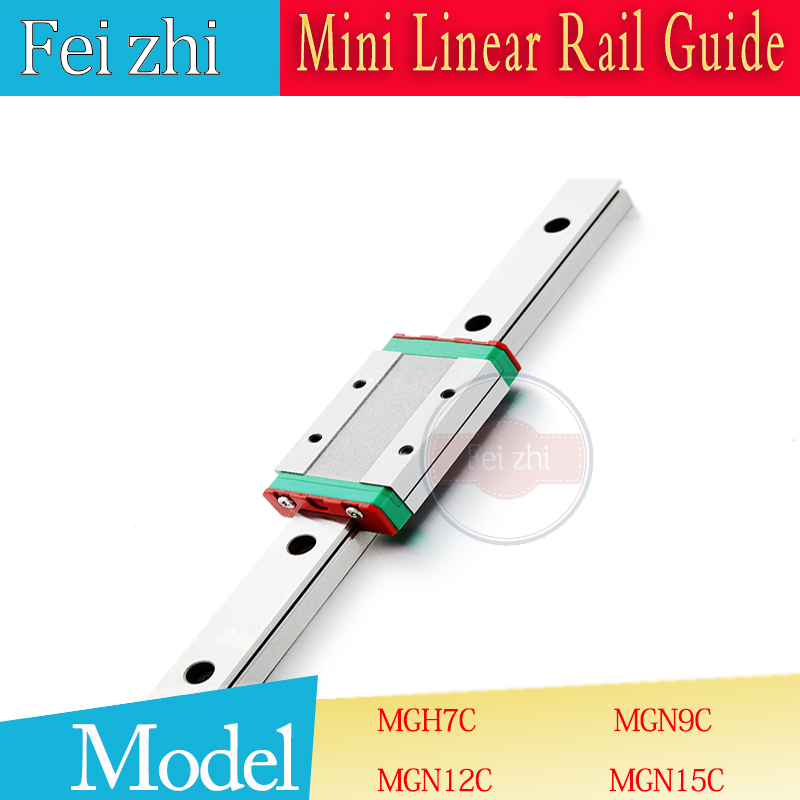 3D print parts Linear Guide MGN9 L=100 200 300 350 400 500~800mm Linear guide rail + MGN9C or MGN9H linear slider cnc parts large format printer spare parts wit color mutoh lecai locor xenons block slider qeh20ca linear guide slider 1pc