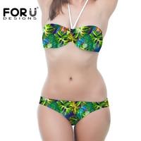 Nouveau Style Fleur Motif Vert Feuille Femmes Bikini Sangle Réglable Maillot de Bain Bas Prix Brésiliens Maillot de bain Soutien-Gorge Rembourré Maillots De Bain