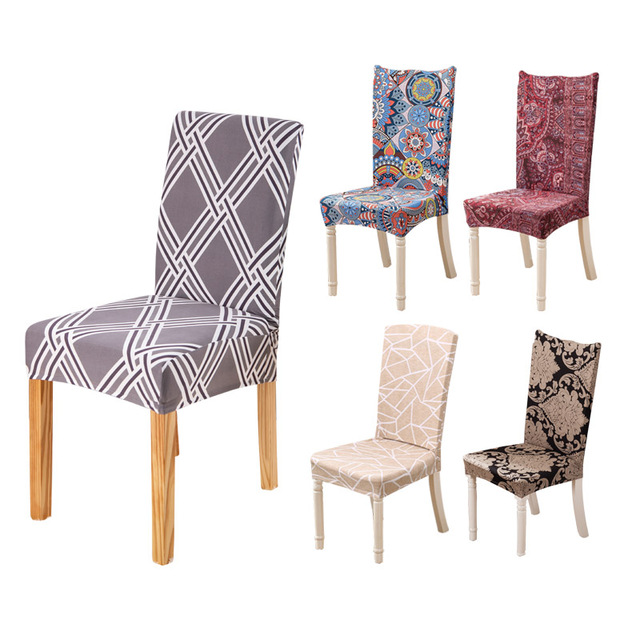 dining chair covers aliexpress folding chairs for rent elastic flower printing cover spendex kitchen seat anti dirty slipcover housse de chaise