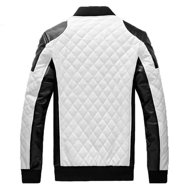2016 New Design Men's Jacket Winter&Autumn PU Leather Black&White Fashion Slim Plaid Jacket For Man Drop Shipping MWJ883