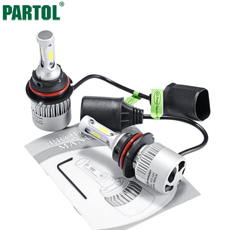 все цены на  Partol S2 9004/HB1 Car LED Headlight Bulbs 72W 8000LM COB LED Car Headlamp Hi-Lo Beam Automobile Light Conversion Kit 6500K 12V  в интернете