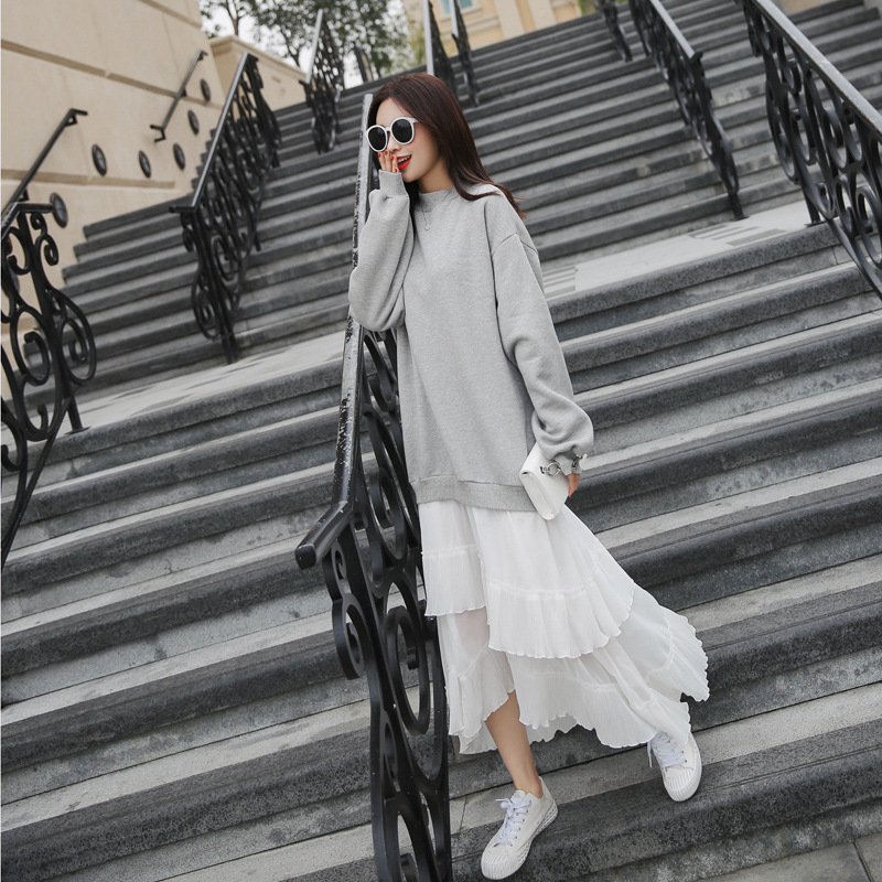 SuperAen 2018 Fashion New Arrival Autumn Elegant Casual Cotton Dress Trumpet Long Dress Women O Neck