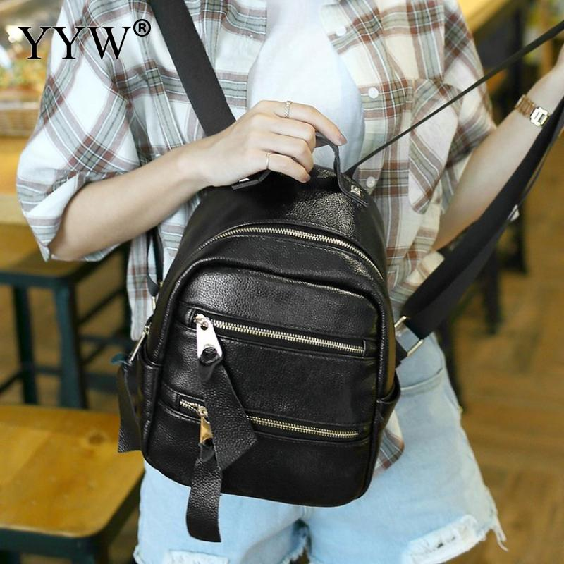 Backpack Women School-Bag Faux-Leather Large-Capacity Black Casual Zipper For Young-Girl