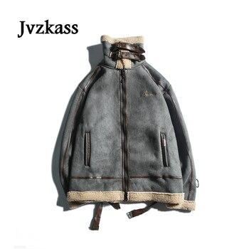 Jvzkass jacket female 2019 winter new thick stitching deer suede hit color locomotive lamb cotton coat Z269