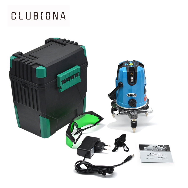 EU plug 5 green beam lines tilt slash functional 360 degrees rotary ourdoor and receiver available self leveling laser level лазерный уровень kaitian 5 1 532nm slash 5 lines 1 point rotary laser level green