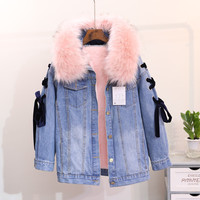 Winter Pink Faux Fur Denim Jacket Women Thicken Patchwork Lace Up Jeans Jacket Women Chaqueta Mujer