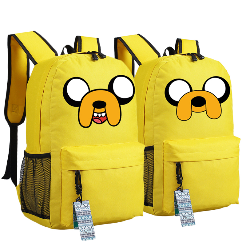 Anime Adventure Time Kawaii Jake Emoji Printing School Bags For Teenagers Canvas Backpacks Mochila Feminina
