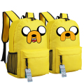 Anime Adventure Time Kawaii Jake Emoji Printing School Bags for Teenagers Canvas Backpacks Mochila Feminina